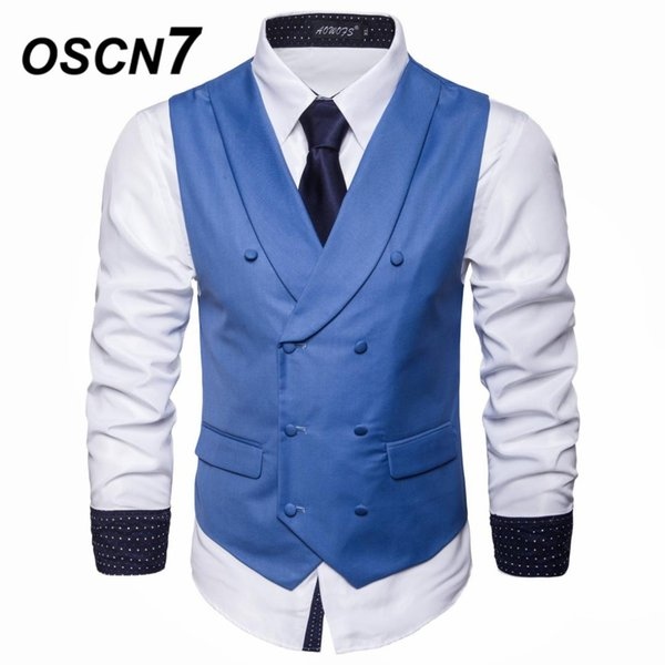 OSCN7 Scialle Risvolto Slim Fit Suit Gilet Mens 2019 New Business Casual Plain Doppio petto Flip Tasche Gilet Uomo MJ003