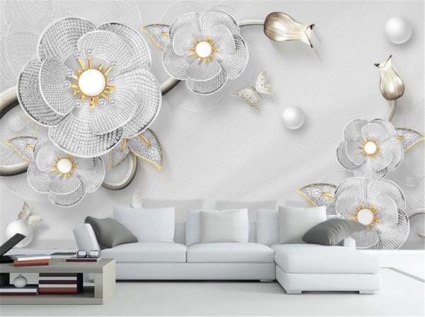 3D lujo flor de diamante joyería europea TV fondo pared 3d Digital Print Wallpaper