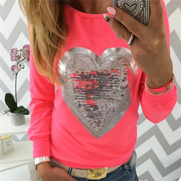 3XL Women Autumn T Shirt Long Sleeve O Neck Love Print Solid Ladies Casual Party Club Plus Size T-Shirt Gray/Red/Yellow