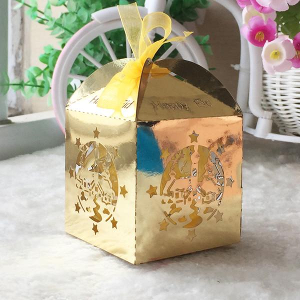 Miele palazzo islamico Laser Cut metallo perlato Cioccolatini Cioccolatini Scatoloni da sposa con nastri e nastri