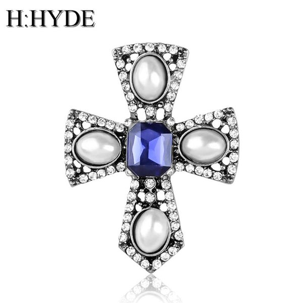 H:HYDE New Fashion Simulated Pearl Blue Crystal Cross Unisex Brooch Pin Badge Jewelry Gift For Women Men