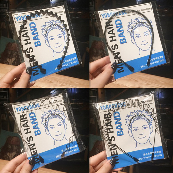 Chique Unisex Homens Mulheres Black Hairbands Ondulado Invisível De Metal Cabelo Hoop Esportes Headband Faixa de Cabelo Cocar Acessórios Para o Cabelo