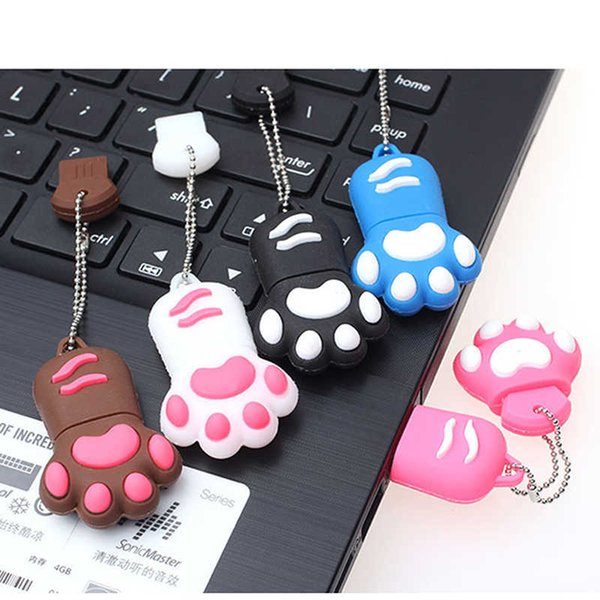 Cartoon Bear Claw Shape Pen Drive 4gb 8gb 16gb 32gb 64gb Usb 2.0 Flash Memory Stick Bear's Footprints Pendrives