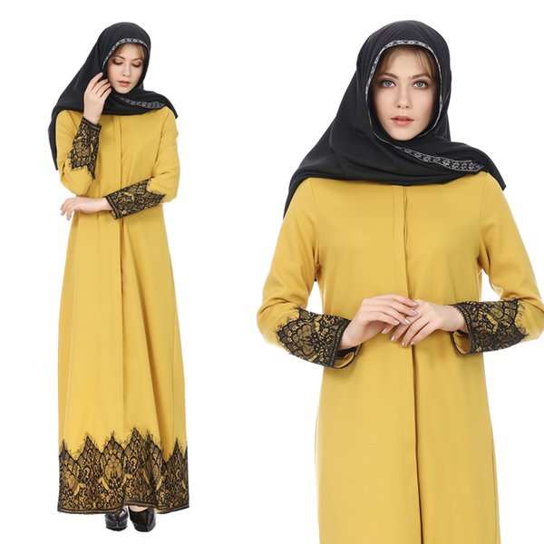 7520# Nation Wind Fashion Full Buckle Nation Wind Lace Robe Long Fund Dress