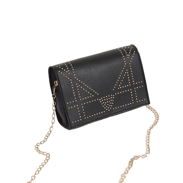 Women fashion rivet cross body single shoulder chain bag PU crossbody flap wallet bag 4 colors