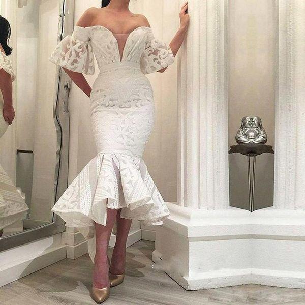 New Arrival Asymmetrical Hem Mermaid Wedding Dresses Off the Shoulder Full Lace Garden Bridal Gowns Ruffles Bottom Robe De Mariee