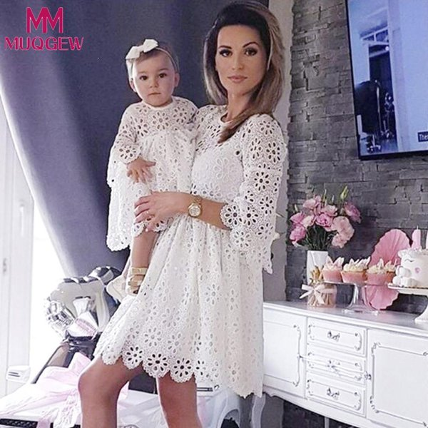 Mother And Daughter Mom And Me Baby Girls Kids Lace Match Daughter Family Dress Clothes Dresses Newborn Dress De Bebe