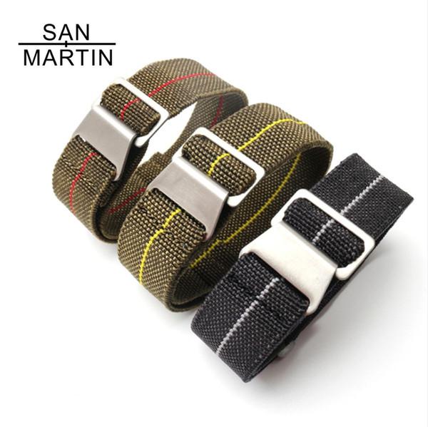 San martin pulseira de nylon banda homens esportes de mergulho cinta preta para relógio de pulso dos homens relógio de cinto cinta de nylon elástico