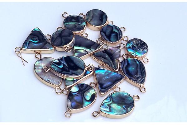 JNMM Vente chaude betterave naturelle Abalone Shell Pendentif goutte d'eau triangulaire bord arrondi double oreille DIY Collier Bracelet