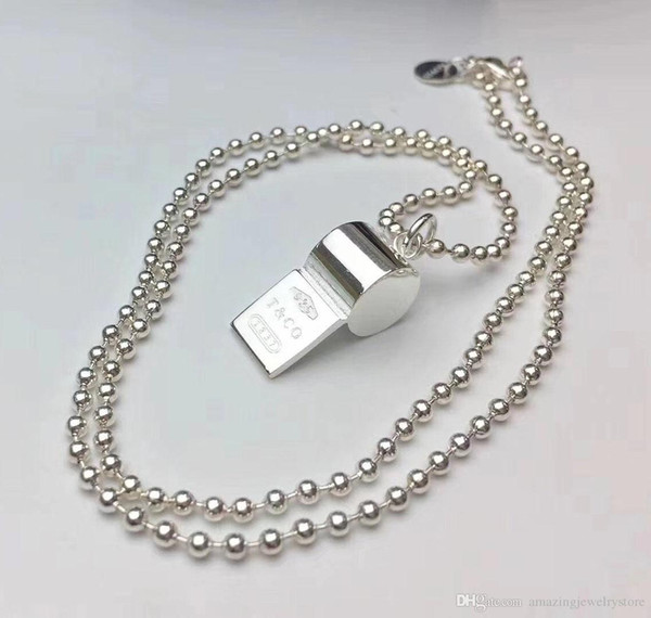 2018 New design 316L Titanium steel whistle shape pendant necklace words for man and women pendant necklace S925 silver plated jewelry gift