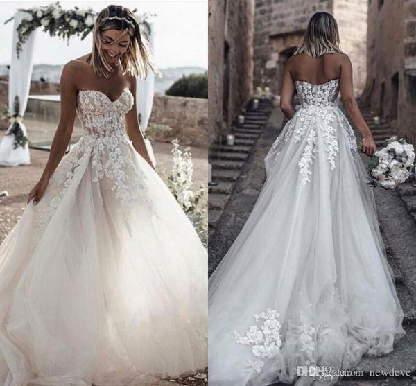 2019 Пляжные свадебные платья Милая Кружева Аппликации Принцесса с открытой спиной Свадебные платья с открытой спиной Boho A-Line Свадебное платье