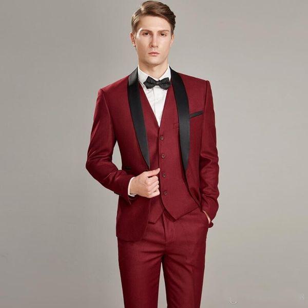 New Fashion Red Slim Fit Groom Tuxedos Black Shawl Lapel Groomsmen Mens Wedding Dress Excellent Man 3 Piece Suit(Jacket+Pants+Vest+Tie) 626