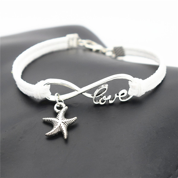 Infinity Love Sea Star Starfish Pendant Design with 10 Colors White Leather Suede Cuff Bracelets for Male Women Luxury Jewelry Birthday Gift