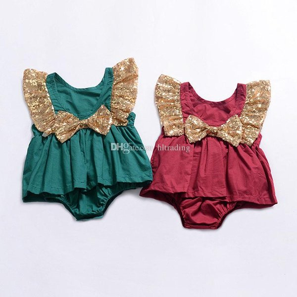 Baby Girls Sequin Bow Romper Dresses 2019 Summer Boutique Jumpsuits Kids Climbing clothes Infant Toddler Flying sleeve Dresses Onesie C6114