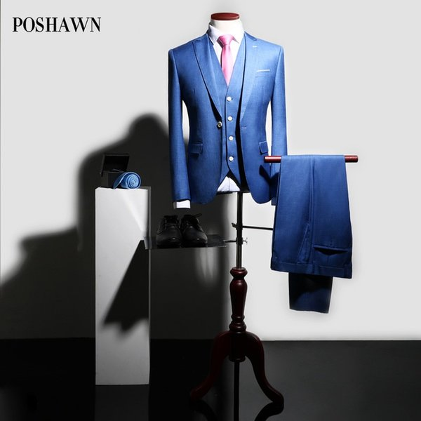 POSHAWN Suit Men Wedding Dress Groom Terno Masculino Slim Fit 2018 Italian Style Business Casual Party Suits Set PLUS SIZE