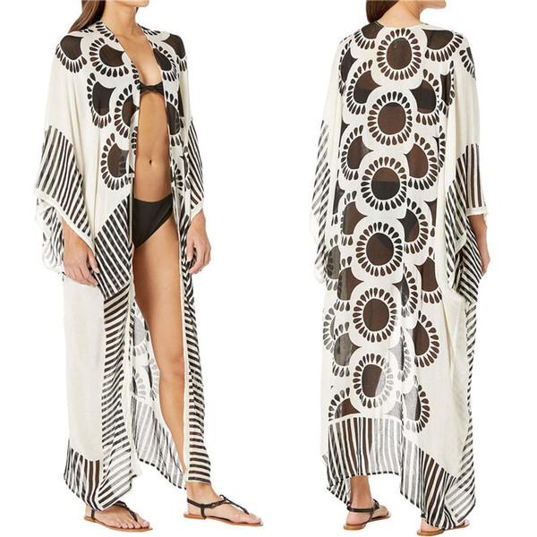 print chiffon beach cover up tunics for beach long kaftan bikini cover up robe de plage sarong swimsuit coverup - from $22.47