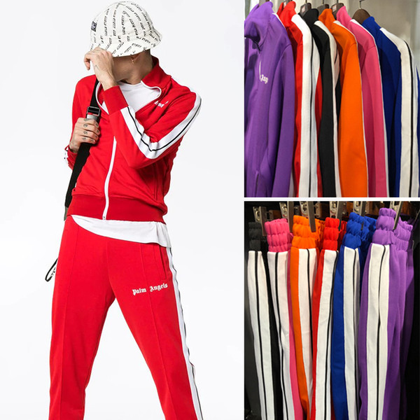 Kaufen Sie Authentic Herbst Schuhe Kauf authentisch 2019 New Palm Angels Tracksuit Men Women Vintage Sports Sweatsuit Fashion  Striped Jacket Pants Sportswear Jogging Gym Sweat Suits PXG1025 From ...