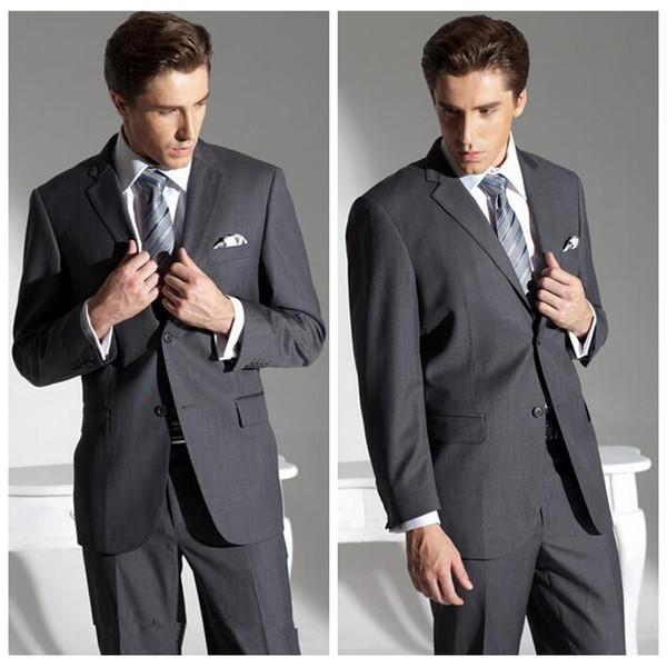 Retro Tailor-Made 2 pieza hombres trajes gris personalizado formal hombre de negocios fiesta desgaste barato boda novio Tuxedos (chaqueta + pantalones)