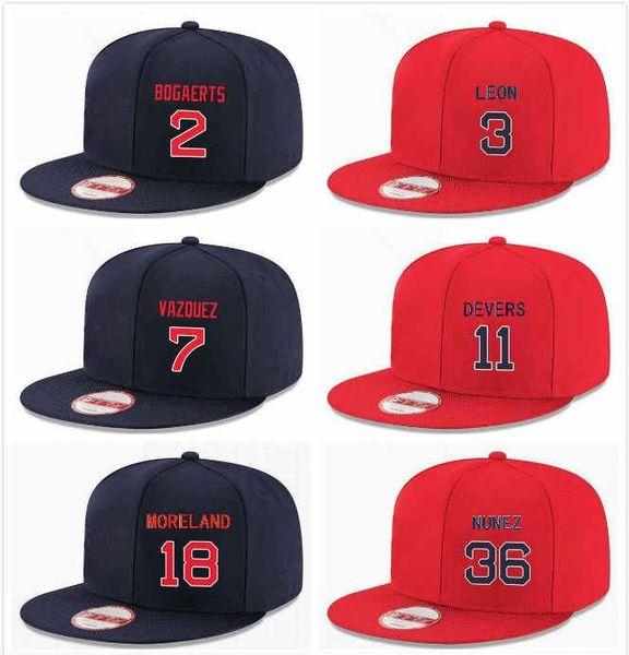 Custom Mens Boston Baseball Hat Blue Snapback Sandy Leon 3 Christian Vazquez 7 Xander Bogaerts 2 Rafael Devers 11 Mitch Moreland 18 Nunez 36