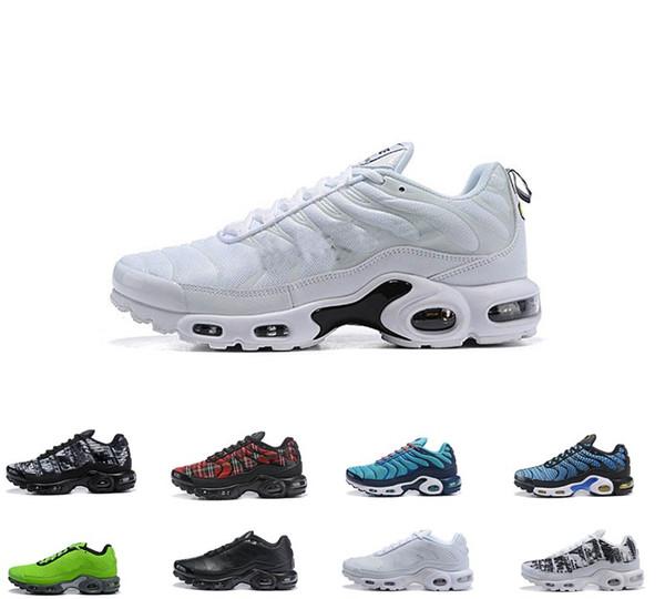 Compre Nike Air Max TN Plus New Men Plus Tn Ultra SE Negro Blanco Naranja Verde Zapatillas Hombre Maxes Zapatos Al Aire Libre TN Zapatillas De Deporte