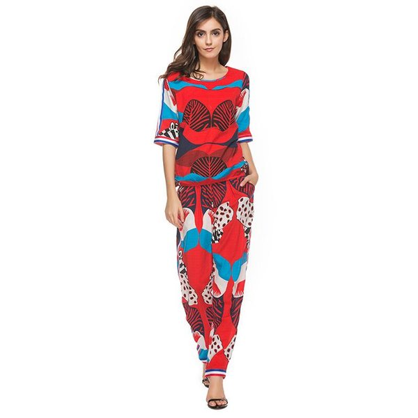 2017 Women Summer Print Tracksuit T-shirt+Pants Two Piece Sets Short Style Chiffon Shirts Wide Leg Pant Female Woman Ruffled Straps Trousers