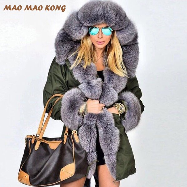 2019New Real Detached Lining Fox collar Natural Rex Rabbit Liner Parka Jacket winter Long Fur Coat Women Y190906