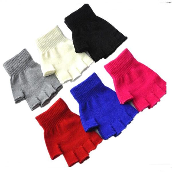 Unisex Fingerless Gloves Wool Button Fingerless Gloves Knitted Mittens Men Women Winter Mittens Wrist Warm Half Finger Glove Christmas Gifts