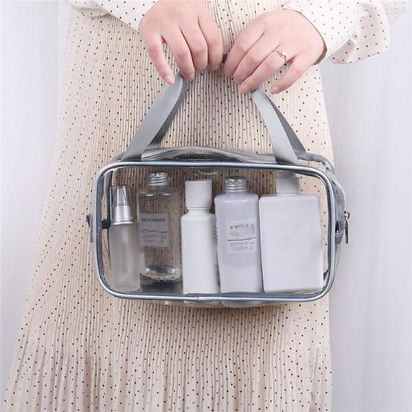 Sac cosmétique imperméable à l'eau Portable Voyage transparent maquillage cosmétique transparent Voir par lavage portable grande capacité sac