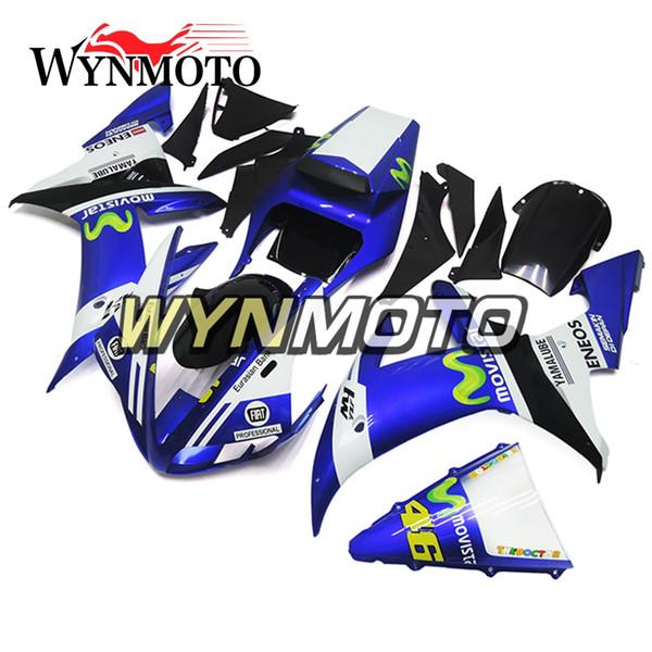 Carene complete per Yamaha YZF1000 R1 2002 2003 02 03 Pannelli per motocicli iniezione plastica ABS YZF R1 02 03 46 Telai per telaio blu bianco