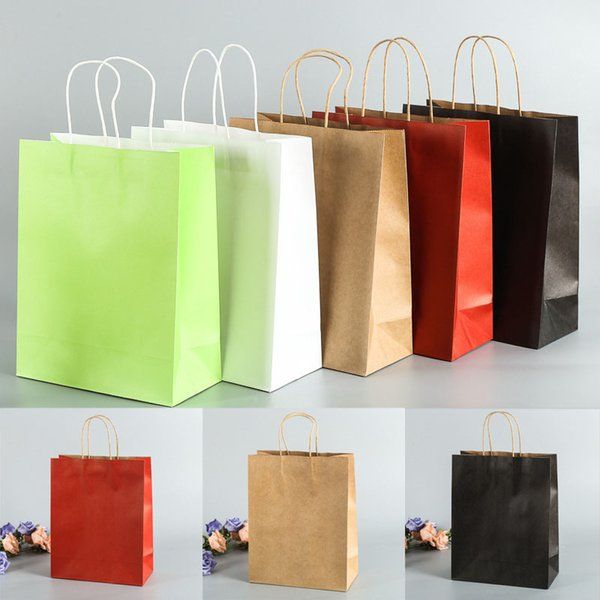 Multi-Color Kraft Paper Bag Birthday Wedding Gift Bags Shopping Bags Recyclable
