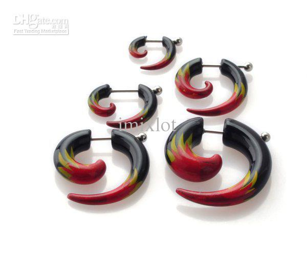 15 Pairs Acrylic Eagle Spiral Gauge Ear Plug Fake Cheater Stretcher Flesh Earrings Body Piercing [BA29(10)*3]