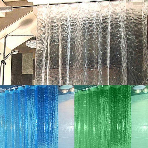 3D Wave Shower Curtain EVA Translucent 1.8/2 Meter Shower Curtains Bathroom Curtain Moldproof Waterproof Bathroom