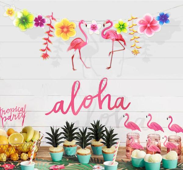 3 desenler yaprakları flamingo tropikal tema parti ot mücadelesi çocuk doğum günü partisi süslemeleri 20 adet parti malzemeleri Adedi