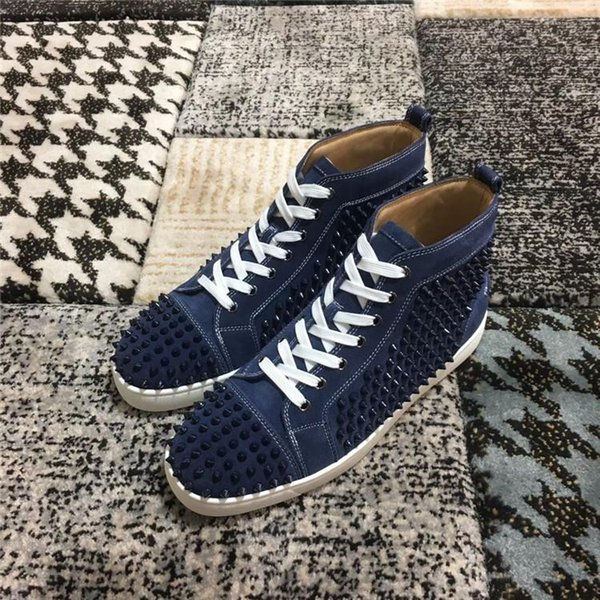 2019 High Quality Spikes High Top Red Sole dark blue color suede leather with Studded Sneakers Shoes Luxury Designer Flat Casual sneakers