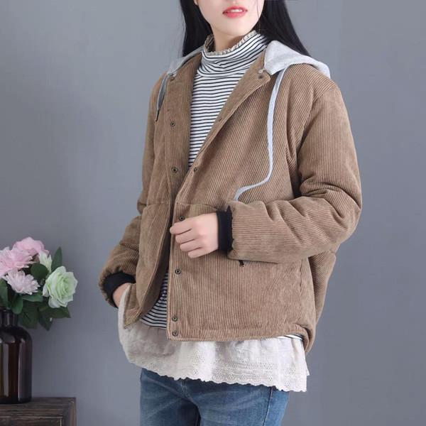 Vestes d'hiver Rétro Rétro plus épais rembourré chaud en velours côtelé manteaux Tops à capuche poche boutonnée Casual Ladies 2018 vestes amples Tops