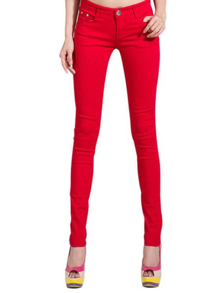 Women's Candy Pants Pencil Jeans Ladies Trousers Mid Waist Full Length Zipper Stretch Skinny Women Pant WKP004