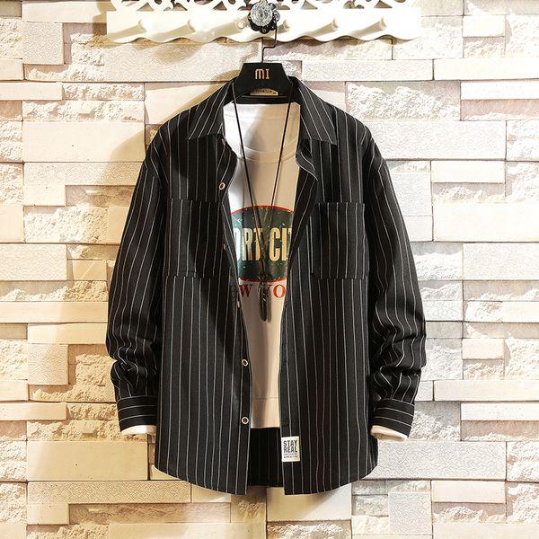 Camicia da uomo a maniche lunghe a righe larghe da uomo, modello MP183