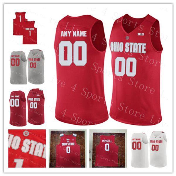 Мужской штат Огайо Buckeyes баскетбол обычай 0 DAngelo Russell 4 Aaron Craft 1 Conley 22 Jackson Red White любое имя номер колледжа трикотажные изделия