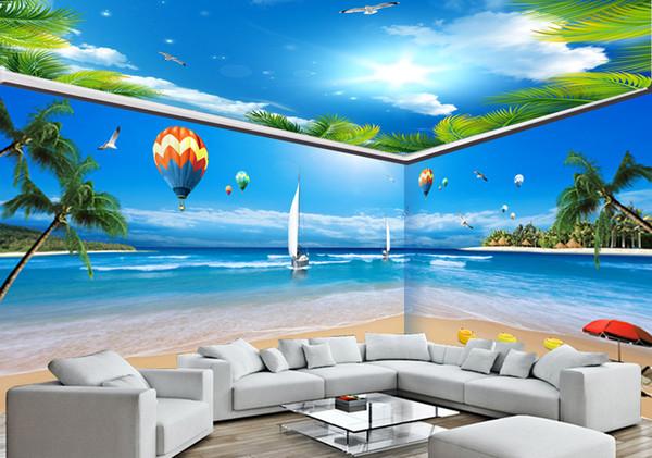 Özel Duvar Kağıdı 3D Maldivler Okyanus Manzara Tam Ev Arka Plan Duvar Dekorasyon Duvar