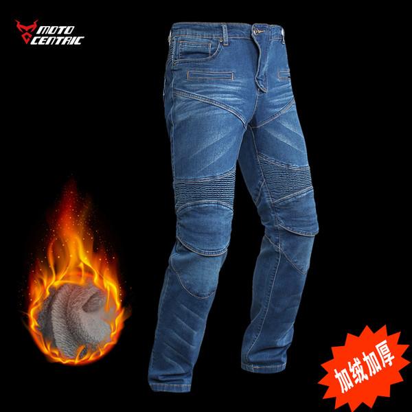 2019 montando calças de brim da motocicleta dos homens de espessura à prova de vento quente locomotiva calças anti-queda além de veludo frio calças de corrida wint 17-MC-JR102