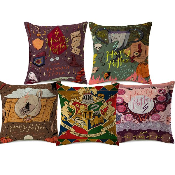 Harry Potter Cushion Covers The Goblet of Fire Magical Hat Cartoon Painting Beige Linen Pillow case 45X45cm Bedroom Sofa Decoration