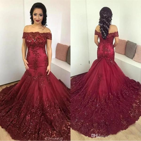 Sparkly Dark Red Mermaid Ballkleider 2018 Arabisch Afrikanisch Schulterfrei Spitze Pailletten Korsett Zurück Lange Ballkleider Vintage Wear BA7204