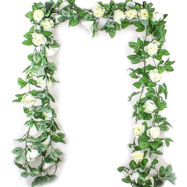 2.5M Simulation Rose Flower Rattan Artificial Flower Vine Silk Wisteria Garland Hanging Rattan For Wedding Arch Garden Wall Deco