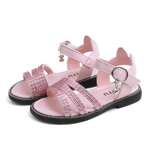 2019 sommer Mädchen Babyschuhe Weichen Strand Sandale Rutschfeste Kind Flache Schuhe Mädchen Kleid Schuhe Drei Farben Ankle Wrap