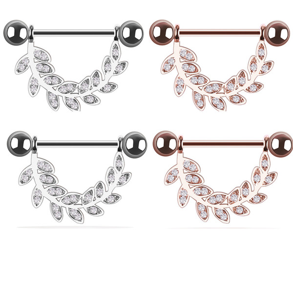 Gold leaf diamond stainless steel milk ring ladies pregnant women hypoallergenic add charm jewelry