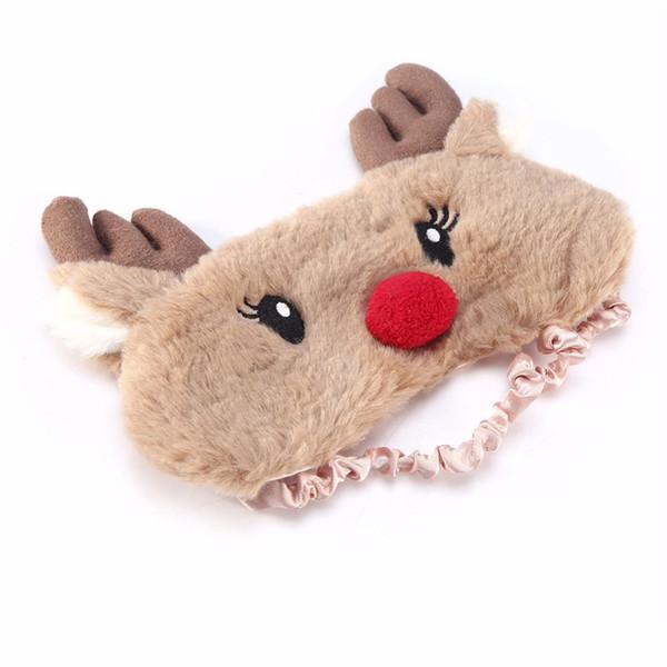 Cubierta de ojo de ciervo navideño Máscara de dormir de tela de felpa animal lindo Parche de ojo Siesta de dibujos animados de invierno Sombra de ojos Ayuda Relájese Parche de viaje