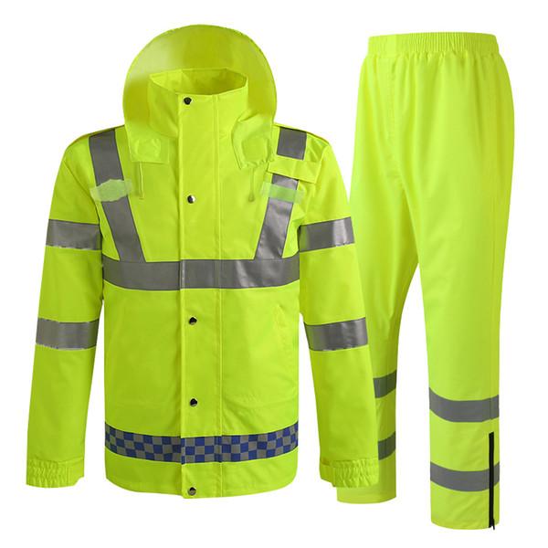 Yağmurluk Erkekler Yağmur Ceket Pantolon Yansıtıcı Kargo Döngüsü Sürme Yürüyüş Cep Ücretsiz Kargo