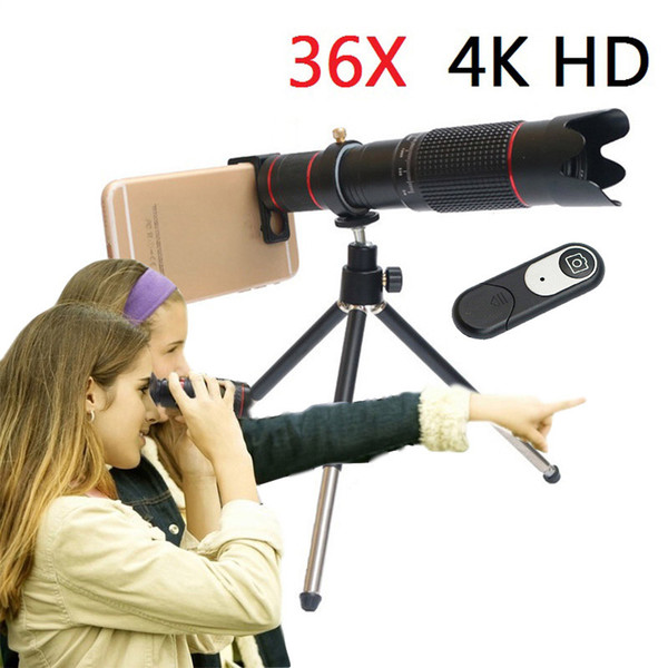 HD Mobile Phone 4K 36x Telescope Camera Optical Zoom Lens Cellphone Telephoto Lenses For iPhone Samsung Huawei Smartphone