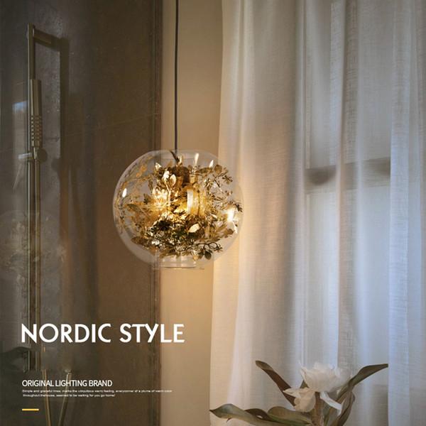 Nordic современный дизайн 3D Золотой шар светодиодный стеклянный потолок подвесной светильник для гостиной чердак кухня чердак столовая бар