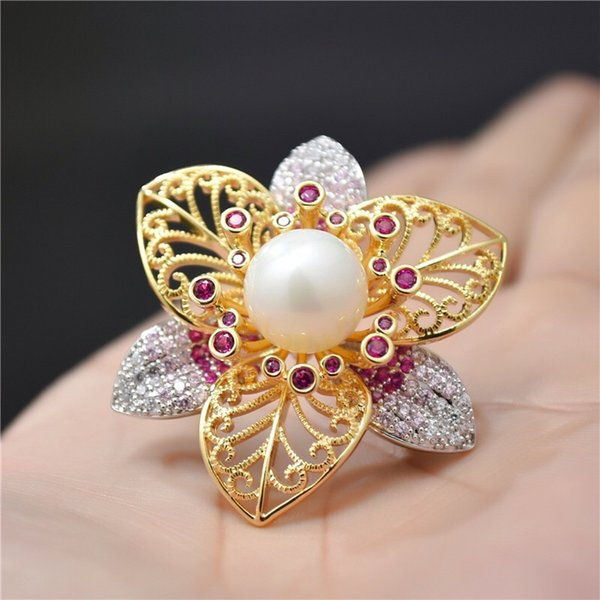 New Fashion Pearl Flower Brooch Pins Boutonniere For Suits Dress Banquet Wedding Party Brooches Pendant Jewelry For Men Women